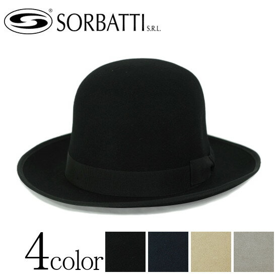 SORBATTI ソルバッティ ウール フェルト クラッシャブル つば広 変形 ボーラーハット ダービーハット ブラック(黒) ネイビー ベージュ グレー M57cm L59cm XL61cm [帽子 ハット メンズ レディース 折りたためる 大きいサイズ 小さいサイズ]