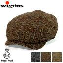 WIGENS ウィゲーンズ ウール ハリスツイード グレンチェックツイード イヤーフラップ ハンチング Ivy Cap ブラック ブラウン オリーブ 59cm ...