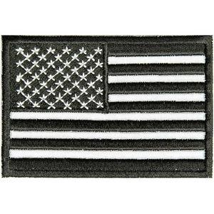 ミリタリーパッチ 星条旗 ブラック アイロンシート付 反射板 アメリカ国旗 フラッグ | ミリタリーワッペン アップリケ 記章 徽章 襟章 肩章 胸章 階級章