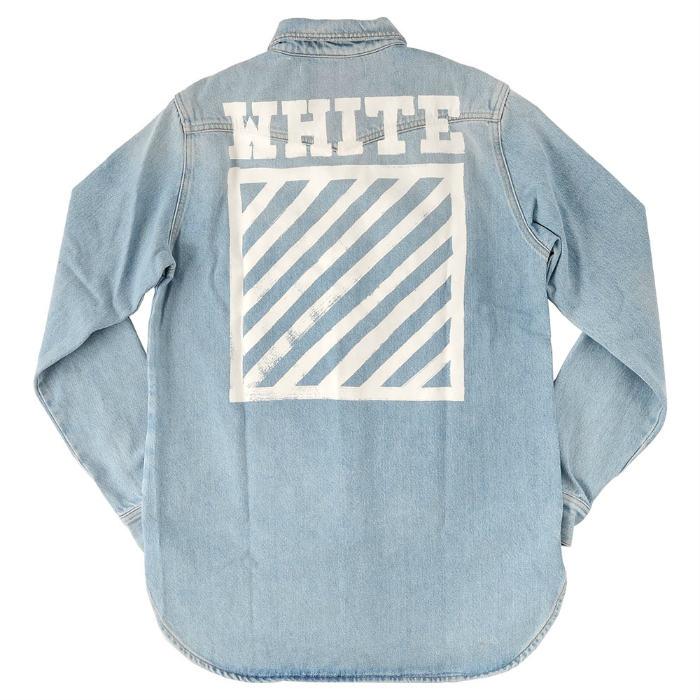 【メンズ】OFF-WHITE BRUSHED DENIM SHIRT オフホワイト ブラッシュド デニム シャツ 長袖 ロゴ プリント