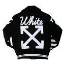 【メンズ】OFF-WHITE VARSITY WITH PATCHES オフホワイト レターマンジャケット スタジャン ブラック アウター