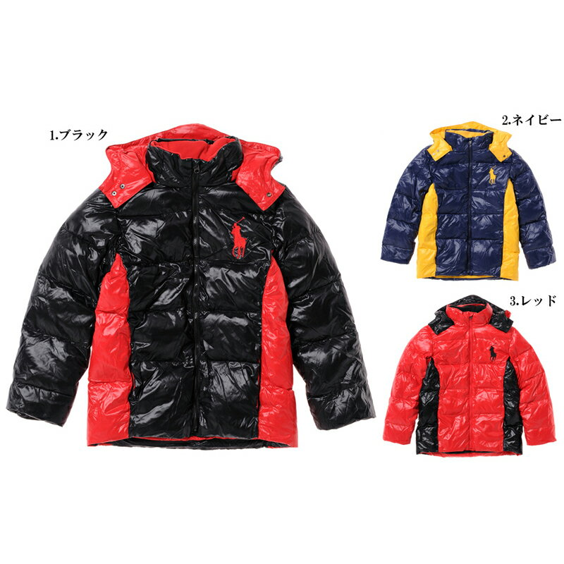Polo Ralph Lauren Boys size big pony down jacket black navy red POLO by Ralph Lauren