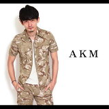【AKM】painted original stretch cotton S/S combat army 163 jacket 半そでシャツジャケット