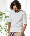 【予約販売3月中旬〜下旬入荷】【CAMBIO(カンビオ)】Span Fraise Stitch V-Neck Half Sleeve Tシャツ