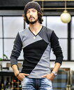 【wjk】7826lj73-CAMBIO別注 wjk Boa Cotton Patchwork V-Neck Long Sleeve Cut sew カットソー