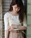【dazzlin(ダズリン)】021732702901-リリー刺繍Tシャツ