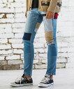 【CAMBIO(カンビオ)】Pattern Fabric Repair Stretch Skinny Denim Pants デニムパンツ