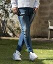【CAMBIO(カンビオ)】【予約販売5月上旬〜中旬入荷】Stretch Denim Skinny Rib Pants デニムパンツ