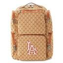 【グッチ】Gucci LAエンジェルズコラボGGキャンバスバックパックリュック552872ブラウン【中古】【鑑定済・正規品保証】77893
