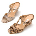 [ROSSINI] wedge sole sandals /NA snake, BGBP heel 6.5cm of the ☆ T-strap cool snake pattern & panther pattern