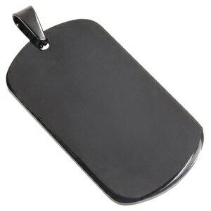 ステンレス製 ドッグタグプレート 5×2.7cm カラー [ ブラック / ツヤあり ] ドックタグ 認識票 DOG TAG ペンダントトップ つやあり 艶あり つやなし メンズアクセサリー