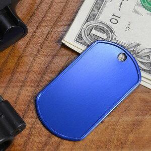 アルミ製 ドッグタグプレート つや消し カラー [ ブルー ] ドックタグ 認識票 DOG TAG つやあり 艶あり つやなし メンズアクセサリー