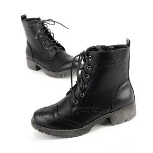 ウイングチップの編み上げショートブーツ◆3-2608G3-0647◆(ベージュ/キャメル/ブラウン/ブラック黒/レッド赤/グレー)◆歩きやすいヒール4cm幅広レディース靴大人