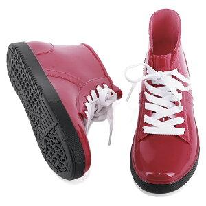 レインシューズレインブーツ◆ch137◆(ベージュ肌色/オレンジ/レッド赤/ブラック黒)ハイカットスニーカー風大きいサイズ3L(25.0cm)までローヒール幅広で痛くないぺたんこ雨雪台風防水レディース靴大人