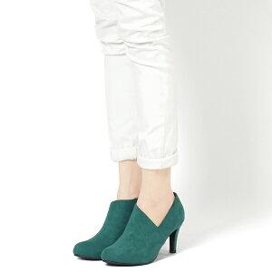ブーティーアシンメトリー◆ff125◆(ベージュ肌色グリーン緑ブルー青ブラック黒)大きいサイズ3L(25.0cm)までショートブーツ幅広で痛くないハイヒールピンヒールラウンドトゥ通勤通学レディース靴