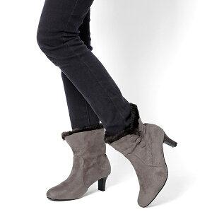 ショートブーツファーブーツボアブーツ2way◆ff159◆(オークブラック黒)大きいサイズ3L(25.0cm)まで幅広で痛くない安定感歩きやすい太ヒール暖かいボアレディース靴秋冬新作【P】