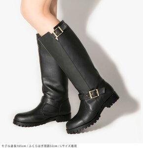エンジニアロングブーツ◆FF65◆歩きやすいローヒール(キャメル/ブラウン茶色/ブラック黒)ルーズブーツ合皮フェイクレザーブーツレディース靴大人