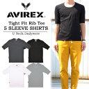 【5000円以上で送料無料】AVIREX(アビレックス) 5分袖 リブTシャツ Uネック 6193142