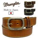 Wrangler(ラングラー)ヴィンテージ オイルド加工 レザーベルト ステッチ使い 日本製 WR4027