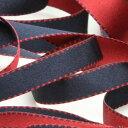 リバーシブルステッチサテンリボン 9mm ダークレッド ネイビーブルー 9.14M巻 手芸 服飾 ラッピング FUJIYAMA RIBBON
