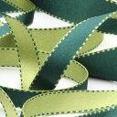 リバーシブルステッチサテンリボン 15mm ダークグリーン オリーブグリーン 9.14M巻 手芸 服飾 ラッピング FUJIYAMA RIBBON