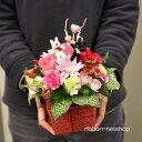 【送料無料】【生花アレンジ】●リサとガスパール●ミニマスコット付季節のお花のミルクBOXフラワーアレ