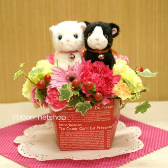 Milk BOX flower arrangements ( flower )-black cat & white cat FL-MD-951