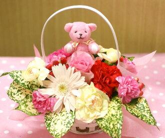 좋아하는 향기를 선택할 수 있습니다 ♪ 아로마 베어 첨부 ♪ 카네이션과 계절의 꽃 꽃꽂이 (꽃) FL-MD-104
