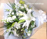 ●悲しみのお花●お供え用の花束(生花)白&ブルーFL-OS-05