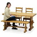 ダイニングテーブルセット 木製 4点セット 幅150 チェア2脚セット ダイニングベンチ ダイニングチェア 木製 パイン無垢材 食卓セット ..
