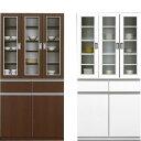 食器棚 キッチンボード 90cm幅 90幅 ハイタイプ キッチン収納 開き戸 モダン シンプル 木製 鏡面 ホワイト 白 木目調 完成品 送料無料