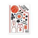 〜自宅で簡単に焼き付けできる転写紙〜Oven Ink(オーブンインク) バスケットボール - Basketball A6サイズ 1枚スライスデザイン SLICE DESIGN【4個までネコポス対応可能!】