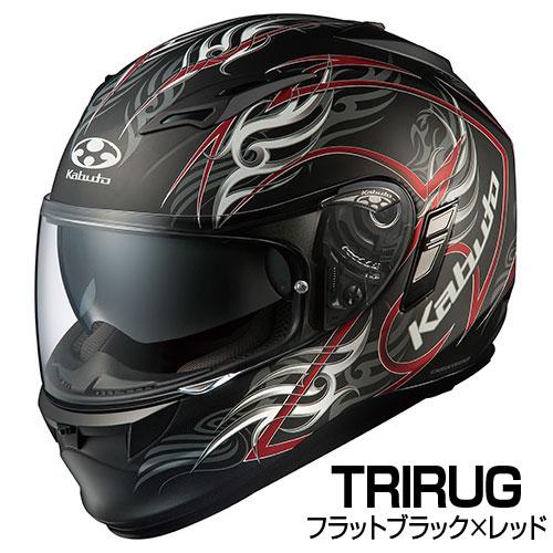 OGKカブト KAMUI-2 ヘルメット TRIRUG【フラットブラックレッド】【オージーケーカブト バイク用 フルフェイスヘルメット カムイ2 トライラグ】【smtb-k】