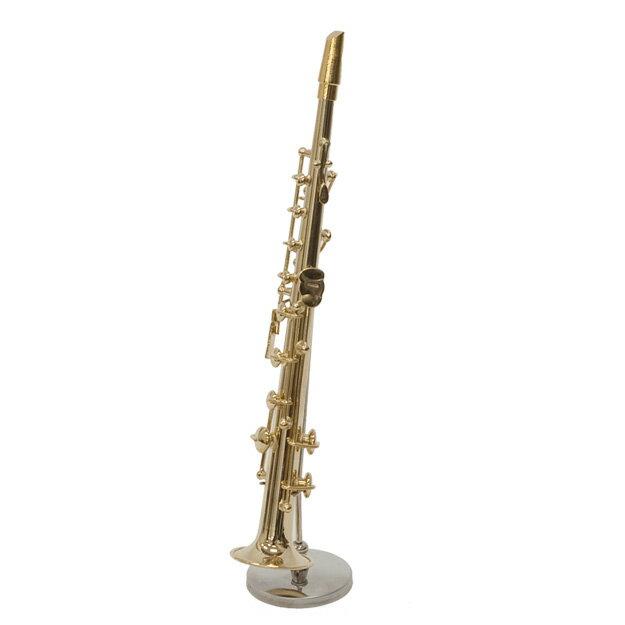 送料無料ミニチュア楽器「ソプラノサックス」長さ約16cm置物模型オブジェインテリア雑貨プレゼント吹奏