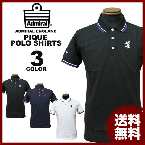 Admiral アドミラル ポロシャツ BASIC LINE POLO SHIRTS 半袖ポロシャツ ゴルフ GOLF ネイビー ブラック 黒 ホワイト 白 メンズ