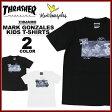 送料無料 スラッシャー THRASHER マークゴンザレス Tシャツ 半袖 黒 白 メンズ MARK GONZALES PHOTO KIDS T-SHIRTS キッズサイズ ジュニアサイズ ユースサイズ レディースサイズ