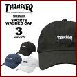 送料無料 スラッシャー THRASHER キャップ 帽子 コットンキャップ ローキャップ ブラック 黒 ネイビー ホワイト 白 メンズ MAG LOGO SPORTS WASHED CAP