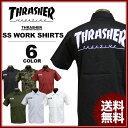 送料無料 スラッシャー THRASHER ワークシャツ シャツ 半袖 ブラック 黒 グリーンコモ バーグ オリーブドラブ ブラックストライプ ホワイト 白 MAG S/S WORK SHIRTS