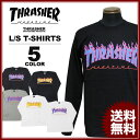 送料無料 スラッシャー THRASHER Tシャツ 長袖 ロンティ ブラック 黒 グレー ホワイト 白 メンズ FLAME 3C L/S T-SHIRTS