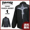 送料無料 スラッシャー THRASHER コーチジャケット ブラック 黒 メンズ レディース RESURRCTION COACH JACKET