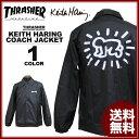 送料無料 スラッシャー THRASHER コーチジャケット ブラック 黒 メンズ Keith Haring COACH JACKET キースヘリング コラボ
