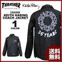 送料無料 スラッシャー THRASHER コーチジャケット ブラック 黒 メンズ Keith Haring 35YEARS COACH JACKET キースヘリング コラボ