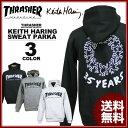 送料無料 スラッシャー THRASHER スエット パーカ パーカー ブラック 黒 グレー ホワイト 白 メンズ Keith Haring 35YEARS SWEAT PARKA キースヘリング コラボ