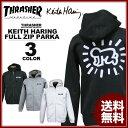 送料無料 スラッシャー THRASHER スエット フルジップ パーカ パーカー ブラック 黒 グレー ホワイト 白 メンズ Keith Haring FULL ZIP SWEAT PARKA キースヘリング コラボ