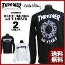 送料無料 スラッシャー THRASHER 長袖Tシャツ ロンTEE ロンティ ブラック 黒 ホワイト 白 メンズ Keith Haring 35YEARS L/S T-SHIRTS キースヘリング コラボ