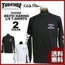 送料無料 スラッシャー THRASHER 長袖Tシャツ ロンTEE ロンティ ブラック 黒 ホワイト 白 メンズ Keith Haring MULTI L/S T-SHIRTS キースヘリング コラボ