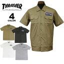【公式】スラッシャー シャツ THRASHER HOMETOWN PATCH S/S WORK SHIRTS 半袖 ワークシャツ メンズ レディース 全4色 S-XL