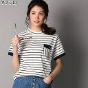 ボーダー柄ポケットTシャツ ウィメンズRight-on,ライトオン,LT2167...