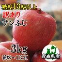 【訳あり】【糖度13度以上】青森県産「サンふじ」3kgダンボール・モールドパック詰(約8〜13玉入)