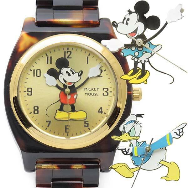 【レビュー特典!!】Disney べっ甲柄 [ミッキーマウス][ミニー][ドナルド][デイジー]ウォッチ